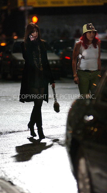 WWW.ACEPIXS.COM . . . . . ....NEW YORK, SEPTEMBER 20, 2005....Anne Hathaway and Patricia Field on the set of 'The Devil Wears Prada.'....Please byline: KRISTIN CALLAHAN - ACE PICTURES.. . . . . . ..Ace Pictures, Inc:  ..Craig Ashby (212) 243-8787..e-mail: picturedesk@acepixs.com..web: http://www.acepixs.com