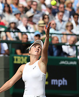 Elina Svitolina (UKR) during her match against Karolina Muchova (CZE) in their Ladies' Singles Quarter-Finals match<br /> <br /> Photographer Rob Newell/CameraSport<br /> <br /> Wimbledon Lawn Tennis Championships - Day 8 - Tuesday 9th July 2019 -  All England Lawn Tennis and Croquet Club - Wimbledon - London - England<br /> <br /> World Copyright © 2019 CameraSport. All rights reserved. 43 Linden Ave. Countesthorpe. Leicester. England. LE8 5PG - Tel: +44 (0) 116 277 4147 - admin@camerasport.com - www.camerasport.com