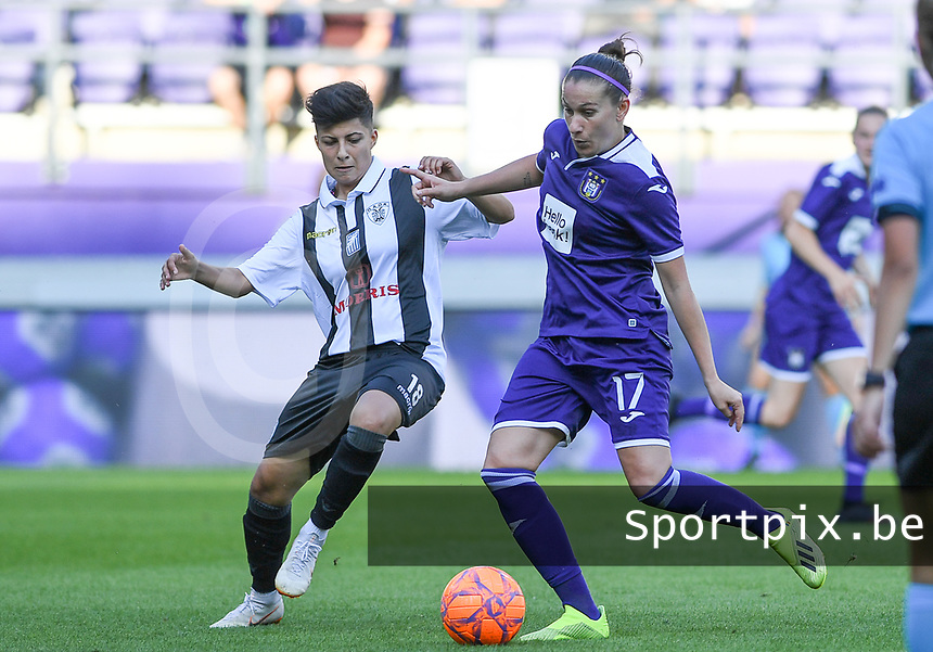 20190807 - ANDERLECHT, BELGIUM : Anderlecht's Laura Roxana Rus pictured in a fight for the ball with PAOK's Anastasia Gkatsou (left) during the female soccer game between the Belgian RSCA Ladies – Royal Sporting Club Anderlecht Dames  and the Greek FC PAOK Thessaloniki ladies , the first game for both teams in the Uefa Womens Champions League Qualifying round in group 8 , Wednesday 7 th August 2019 at the Lotto Park Stadium in Anderlecht  , Belgium  .  PHOTO SPORTPIX.BE | DAVID CATRY