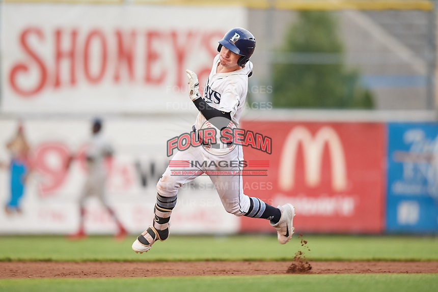 Princeton Rays center fielder Grant Witherspoon (5) runs the bases during the second game of a doubleheader against the Johnson City Cardinals on August 17, 2018 at Hunnicutt Field in Princeton, Virginia.  Princeton defeated Johnson City 12-1.  (Mike Janes/Four Seam Images)