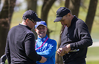 footballer turned actor Vinnie Jones cuts a cigar for teammate former England cricketer Darren Gough during the GOLFSIXES ProAm  at Centurion Club, St Albans, England on 5 May 2017. Photo by Andy Rowland.