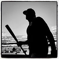 OAKLAND, CA - SEPTEMBER 4: iPhone Instagram of the Los Angeles Angels taking batting practice before the game against the Oakland Athletics at the Oakland Coliseum on September 4, 2019 in Oakland, California. (Photo by Brad Mangin)