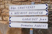 Domaine chauvenet, Meuriot Desauge, Garaudet jean, Parent. The village. Pommard, Cote de Beaune, d'Or, Burgundy, France