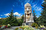 "Wooden indian statue, ""Whispering Giants"", Valdez, Southcentral Alaska, Autumn."