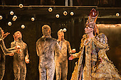 London, UK. 2 March 2016. Pictured: Anthony Roth Costanzo as Akhnaten with members of Gandini Juggling. English National Opera (ENO) dress rehearsal of the Philip Glass opera Akhnaten at the London Coliseum. 7 performances from 4  to 18 March 2016. Directed by Phelim McDermott with Anthony Roth Costanzo as Akhnaten, Emma Carrington as Nefertiti, Rebecca Bottone as Queen Tye, James Cleverton as Horemhab, Clive Bayley as Aye, Colin Judson as High Priest of Amon and Zachary James as Scribe. Skills performances by Gandini Juggling.