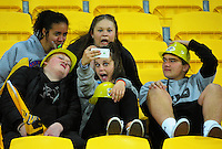 Fans take a selfie before the Super Rugby match between the Hurricanes and Sharks at Westpac Stadium, Wellington, New Zealand on Saturday, 9 May 2015. Photo: Dave Lintott / lintottphoto.co.nz