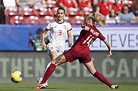 11th March 2020, Frisco, Texas, USA;  Ainhoa Moraza of Spain against Leah Williamson of England during the 2020 SheBelieves Cup Womens International Friendly football match between England Women vs Spain Women at Toyota Stadium in Frisco