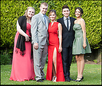 BNPS.co.uk (01202) 558833<br /> Picture: Peter Willows<br /> <br /> **exclusive/not online**<br /> <br /> Isabelle Papandronicou is accompanied by her friends to the prom (l-r) Emily Oakley, boyfriend Rhys Lewis, Fernando Gill and Valentina Quintero<br /> <br /> Teenage amputee Isabelle Papandronicou has got a new prosthetic leg that has enabled her to wear heels for the first time, just in time for her school prom. Isabelle (15) from Barnet, London, chose to have her right leg amputated last year after several operations to fix a rare bone condition did not work. She has been wearing an NHS limb since then but has been limited to just flat shoes. After hearing about lifelike prosthetics that can be shaped to fit inside heeled footwear, her family started fundraising to get Isabelle a new leg. She has now been fitted with the &pound;5,633 leg by Dorset Orthopaedic in Ringwood, Hampshire, which she showcased at her year 11 leaver's ball.