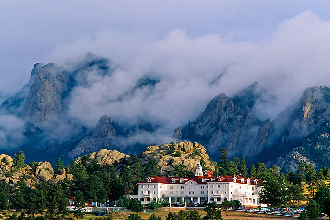 A morning storm looms over the historic Stanley Hotel in Estes Park, Colorado, Rocky Mountains, USA