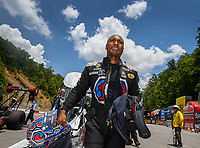 Jun 17, 2017; Bristol, TN, USA; NHRA top fuel driver Antron Brown during qualifying for the Thunder Valley Nationals at Bristol Dragway. Mandatory Credit: Mark J. Rebilas-USA TODAY Sports