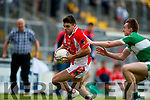 James Crean West Kerry in action against Danny Sheahan Legion in the Quarter Final of the Kerry Senior County Championship at Austin Stack Park on Sunday.