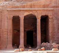 Garden hall or Garden tomb, 200 BC - 200 AD, Petra, Ma'an, Jordan. Located along the Wadi Al Farasa processional route, this small chamber has an entrance formed of 2 columns between pilasters. It is named after the greenery which surrounds it in the Spring. Petra was the capital and royal city of the Nabateans, Arabic desert nomads. Picture by Manuel Cohen