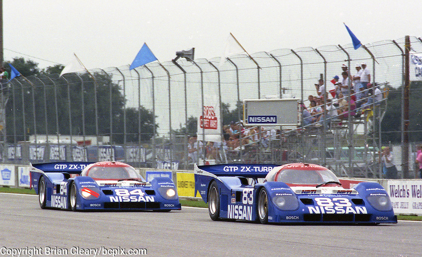 The #83 Nissan Performance  Nissan NPT-90  of  Geoff Brabham  leads the #84 Nissan Performance  Nissan NPT-90  of  Chip Robinson during the Nissan World Challenge of Tampa,  Florida State Fairgrounds, September 1990. (Photo by Brian Cleary/www.bcpix.com)