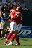 Canada Women celebrate, USA vs. Canada at the Third Place Match of the FIFA Women's World Cup USA 2003. USA 3, Canada, 1. (October 11, 2003). .