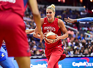 Washington, DC - July 13, 2018: Washington Mystics guard Elena Delle Donne (11) dribbles the ball between defenders during game between the Washington Mystics and Chicago Sky at the Capital One Arena in Washington, DC. The Mystics defeat the Sky 88-72 (Photo by Phil Peters/Media Images International)