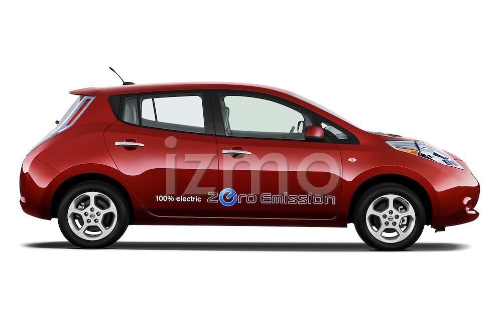 Passenger side profile view of a 2011 Nissan Leaf SL.