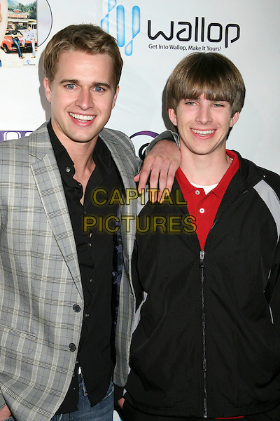 "RANDY WAYNE & TYLER MAX NEITZEL .""The Dukes of Hazzard: The Beginning"" DVD Release Party at Forbidden City, Hollywood, California, USA..March 21st, 2007.half length grey gray checkered suit jacket black .CAP/ADM/BP.©Byron Purvis/AdMedia/Capital Pictures"