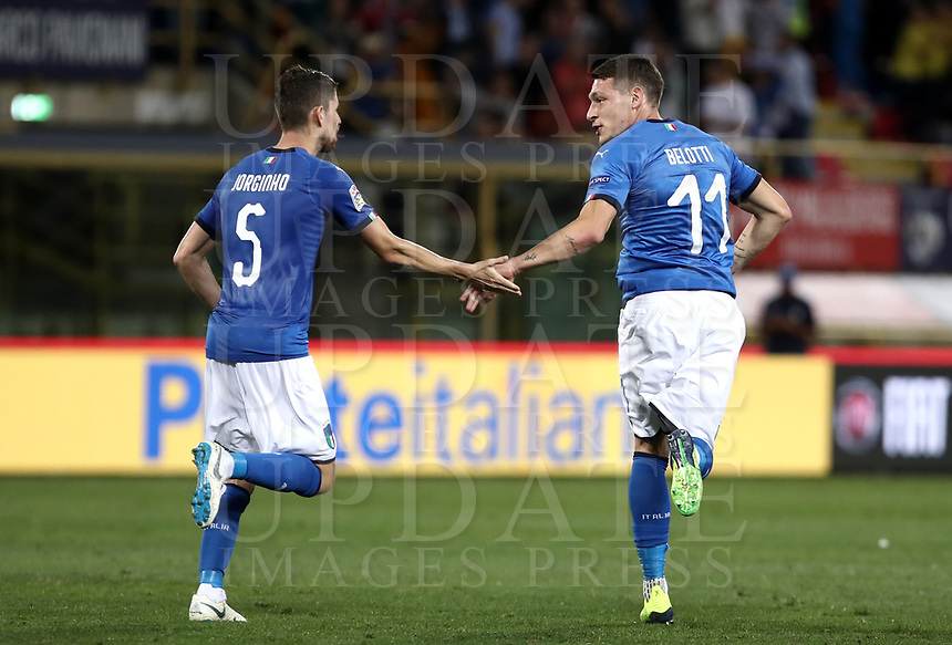 Football: Uefa Nations League match Italy vs Poland, Renato Dall'Ara stadium, Bologna, Italy, September 7, 2018. <br /> Italy's Jorginho (l) celebrates after scoring with his teammate Andrea Belotti (r) during the Uefa Nations League match between Italy and Poland at the Renato Dall'Ara stadium, Bologna, Italy, September 7, 2018. <br /> UPDATE IMAGES PRESS/Isabella Bonotto