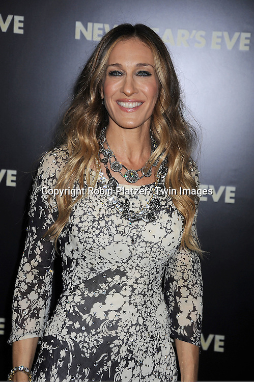 """Sarah Jessica Parker in Pauline Trigere dress attends The Special Screening of """" New Year's Eve"""" on .December 7, 2011 at The Ziegfeld Theatre in New York City. The evening is sponsored by AT & T and is benefitting The Tribeca Film Institute ."""