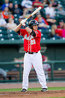 Tyler Ogle (28) of the Great Lakes Loons at bat against the Wisconsin Timber Rattlers at the Dow Diamond on May 4, 2013 in Midland, Michigan.  The Timber Rattlers defeated the Loons 6-4.  (Brian Westerholt/Four Seam Images)