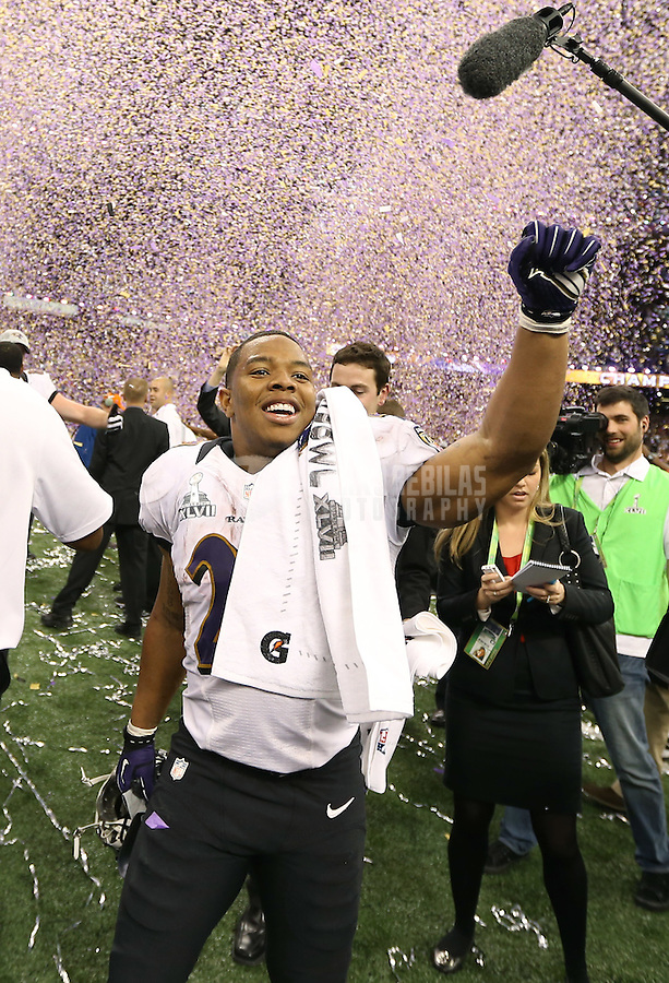 Feb 3, 2013; New Orleans, LA, USA; Baltimore Ravens running back Ray Rice celebrates after defeating the San Francisco 49ers in Super Bowl XLVII at the Mercedes-Benz Superdome. Mandatory Credit: Mark J. Rebilas-
