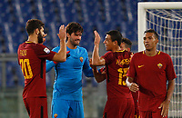 From left, Roma's Federico Fazio, Alisson Becker, Hector Moreno, Alessandro Florenzi and Juan Jesus celebrate at the end of the Serie A football match between Roma and Bologna at Rome's Olympic stadium, October 28, 2017. Roma won 1-0.<br /> UPDATE IMAGES PRESS/Riccardo De Luca