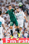 Cristian Tello Herrera of Real Betis (C) fights for the ball with Daniel Carvajal Ramos of Real Madrid (R) during the La Liga 2017-18 match between Real Madrid and Real Betis at Estadio Santiago Bernabeu on 20 September 2017 in Madrid, Spain. Photo by Diego Gonzalez / Power Sport Images