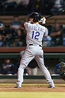 Surprise Saguaros designated hitter Charles Leblanc (12), of the Texas Rangers organization, at bat during an Arizona Fall League game against the Scottsdale Scorpions at Scottsdale Stadium on October 15, 2018 in Scottsdale, Arizona. Surprise defeated Scottsdale 2-0. (Zachary Lucy/Four Seam Images)