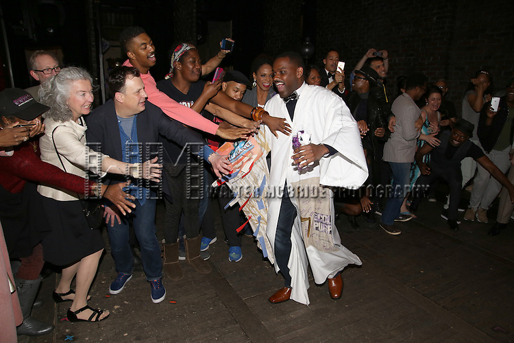 Brooks Ashmanskas, Amber Iman, Audra McDonald, Billy Porter and Arbender Robinson with cast during the Actors' Equity Opening Night Gypsy Robe Ceremony honoring Arbender Robinson for 'Shuffle Along' at The Music Box Theatre on April 28, 2016 in New York City.