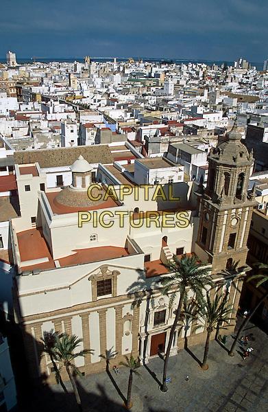Santiago Church and a view of Cadiz city from Cadiz Cathedral, Plaza de la Catedral, Cadiz, Spain