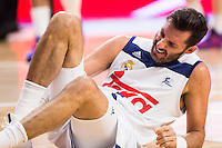 Real Madrid's player Rudy Fernandez injured during match of Liga Endesa at Barclaycard Center in Madrid. September 30, Spain. 2016. (ALTERPHOTOS/BorjaB.Hojas) /NORTEPHOTO