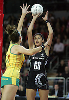 20.09.2008 Silver Ferns Maria Tutaia and Australia's Biance Chatfield in action during the New World Netball test match between the Silver Ferns and Australia played at Vector Arena in Auckland Mandatory Photo Credit ©Michael Bradley.