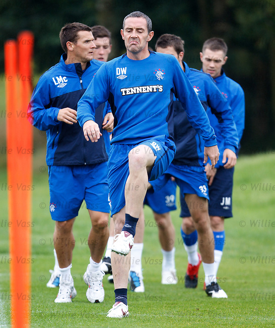 David Weir snarls at the front as he prepares to defend Rangers championship