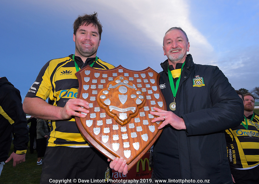 Yellows captain Hayden Stratford and coach Kelvin Tantrum after winning the 2019 Manawatu premier club rugby Hankins Sheild final match between Varsity and Feilding Yellows at CET Arena in Palmerston North, New Zealand on Saturday, 13 July 2019. Photo: Dave Lintott / lintottphoto.co.nz