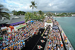 KONA-KAILUA, HI - OCTOBER 11: An aerial view of the finish line at the 2014 IRONMAN Triathlon World Championships presented by GoPro on October 11, 2014 in Kailua-Kona, Hawaii. (Photo by Donald Miralle) *** Local Caption ***