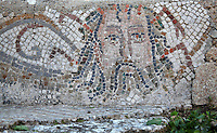 Roman mosaic of Bacchus, god of wine, from the House of the Nereides, Volubilis, Northern Morocco. Volubilis was founded in the 3rd century BC by the Phoenicians and was a Roman settlement from the 1st century AD. Volubilis was a thriving Roman olive growing town until 280 AD and was settled until the 11th century. The buildings were largely destroyed by an earthquake in the 18th century and have since been excavated and partly restored. Volubilis was listed as a UNESCO World Heritage Site in 1997. Picture by Manuel Cohen