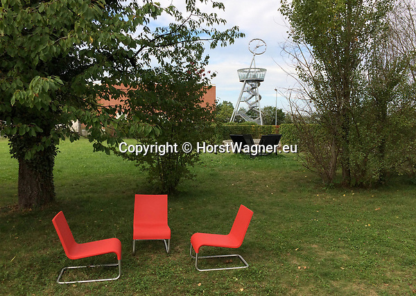 Germany, Weil am Rhein -- September 04, 2017 -- Vitra Campus, a production site (mainly furniture) and field of experimentation for architecture and design; here, The Vitra Slide Tower, by Carsten Höller (Hoeller) -- © HorstWagner.eu