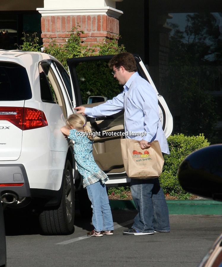 11-7-08  Exclusive.Sean Astin picked up his kid from school then headed over to  Subway with family in Calabasas California. The daughter didn't seem to happy about eating subway. Looks like Sean might be the new spokes person for the subway diet. ..AbilityFilms@yahoo.com.805-427-3519.www.AbilityFilms.com