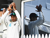 3rd December 2017, Wellington, New Zealand;  Jeet Raval congratlulates Tom Blundell on his century.<br /> Day 3. New Zealand Black Caps v West Indies. 1st test match of the ANZ International Cricket Season 2017/18 season. Basin Reserve, Wellington,
