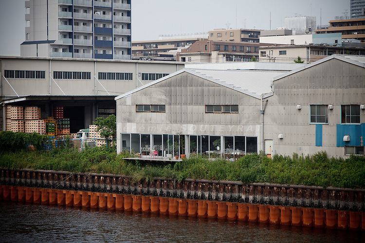 Tokyo, June 7 2011 - In the middle, the office of the architects Ryue Nishizawa and Kazuyo Sejima (SANAA agency), in Tatsumi, Tokyo.