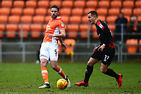 Blackpool's Clark Robertson competes with Walsall's Kieron Morris<br /> <br /> Photographer Richard Martin-Roberts/CameraSport<br /> <br /> The EFL Sky Bet League One - Blackpool v Walsall - Saturday 10th February 2018 - Bloomfield Road - Blackpool<br /> <br /> World Copyright &not;&copy; 2018 CameraSport. All rights reserved. 43 Linden Ave. Countesthorpe. Leicester. England. LE8 5PG - Tel: +44 (0) 116 277 4147 - admin@camerasport.com - www.camerasport.com