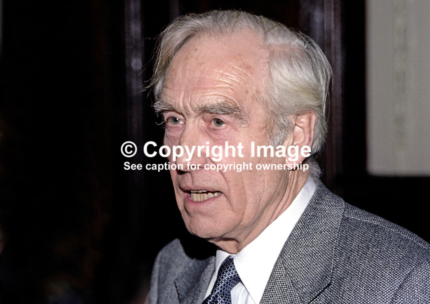 Basil McIvor, Belfast, N Ireland, former Ulster Unionist politician, and later resident magistrate  on his retirement from politics. 199911070.<br />