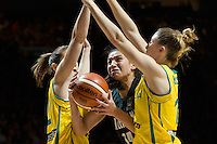 Melbourne, 15 August 2015 - Chevannah PAALVAST of New Zealand in action during game one of the 2015 FIBA Oceania Championships in women's basketball between the Australian Opals and the New Zealand Tall Ferns at Rod Laver Arena in Melbourne, Australia. Aus def NZ 61-41. (Photo Sydney Low / sydlow.com)