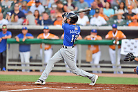 Biloxi Shuckers Ryan Aguilar (12) swings at a pitch during a game against the Tennessee Smokies at  on August 10, 2019 in Kodak, Tennessee. The Shuckers defeated the Smokies 7-3. (Tony Farlow/Four Seam Images)