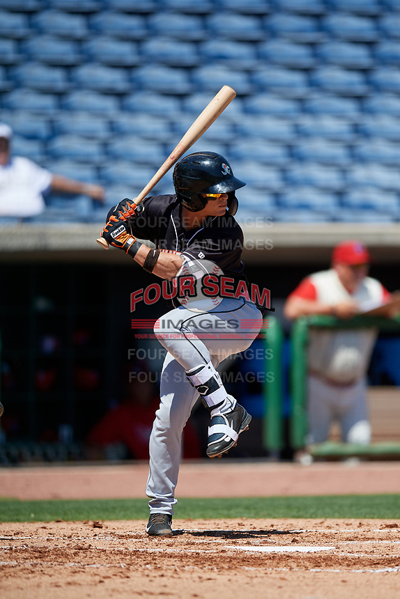 Jupiter Hammerheads shortstop Luis Pintor (7) at bat during a game against the Clearwater Threshers on April 11, 2018 at Spectrum Field in Clearwater, Florida.  Jupiter defeated Clearwater 6-4.  (Mike Janes/Four Seam Images)