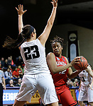 SIOUX FALLS, SD: MARCH 21:  Bria Gaines #12 of Union drives on Jolene Shipps #23 of Central Missouri during their game at the 2018 Division II Women's Basketball Championship at the Sanford Pentagon in Sioux Falls, S.D. (Photo by Dick Carlson/Inertia)