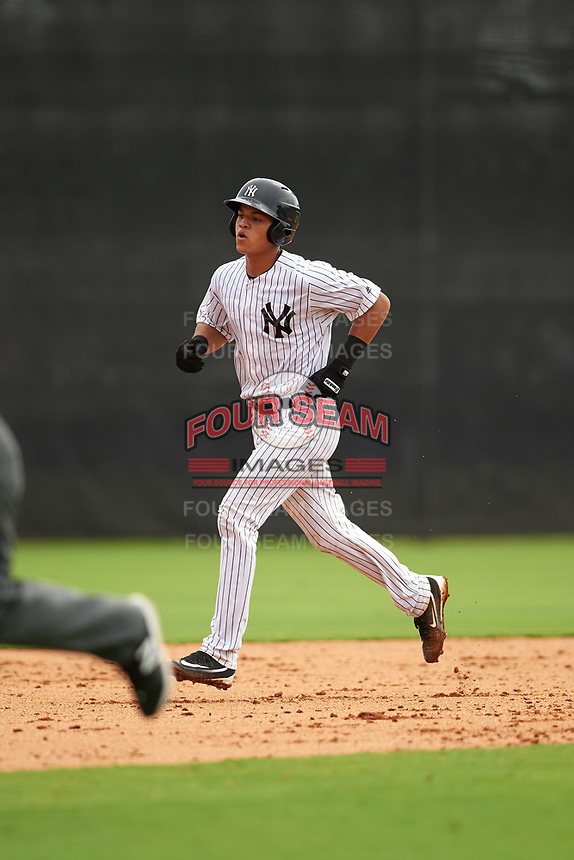 GCL Yankees East catcher Pedro Diaz (53) running the bases during the first game of a doubleheader against the GCL Yankees West on July 19, 2017 at the Yankees Minor League Complex in Tampa, Florida.  GCL Yankees West defeated the GCL Yankees East 11-2.  (Mike Janes/Four Seam Images)