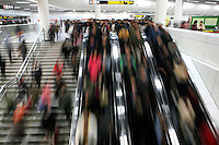 Passengers crowd the subway at People's square underground station in Shanghai, China, on January 7, 2009. Photo by Lucas Schifres/Pictobank