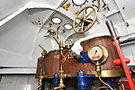 Pictured: The Pinnace 199's engine room.<br /> <br /> An historic 100 year old Royal Navy steam ship has finally been returned to its former glory after a painstaking restoration process.<br /> <br /> The 50ft-long Steam Pinnace 199 is believed to be the last remaining boat of its type in operational service.<br /> <br /> For years, the significance of the boat, which was built in 1911, was lost on various owners and it languished at the side of the Thames for more than 20 years as a static houseboat.<br /> <br /> Her steam engine was even replaced by a petrol engine.<br /> <br /> However, before the vessel disappeared forever beneath a Thames mud bank, she was recognised for the proud little ship she once was and rescued by a group of volunteers, who called themselves Group 199.   SEE OUR COPY FOR DETAILS.<br /> <br /> <br /> © Morten Watkins/Solent News & Photo Agency<br /> UK +44 (0) 2380 458800