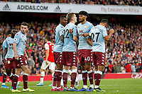 Tyrone Mings of Aston Villa organises the wall during the Premier League match between Arsenal and Aston Villa at the Emirates Stadium, London, England on 22 September 2019. Photo by Carlton Myrie / PRiME Media Images.